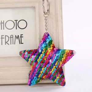 Accessories - Rainbow mermaid star sequin purse charm keychain